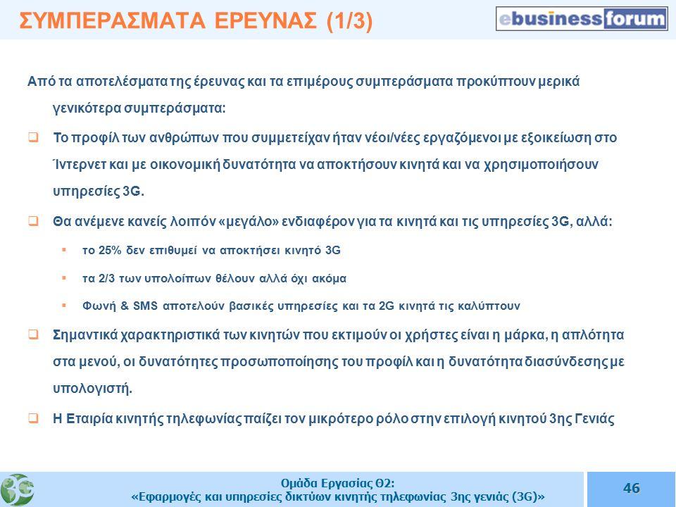 Ομάδα Εργασίας Θ2: «Εφαρμογές και υπηρεσίες δικτύων κινητής τηλεφωνίας 3ης γενιάς (3G)» 46 ΣΥΜΠΕΡΑΣΜΑΤΑ ΕΡΕΥΝΑΣ (1/3) Aπό τα αποτελέσματα της έρευνας και τα επιμέρους συμπεράσματα προκύπτουν μερικά γενικότερα συμπεράσματα:  Το προφίλ των ανθρώπων που συμμετείχαν ήταν νέοι/νέες εργαζόμενοι με εξοικείωση στο Ίντερνετ και με οικονομική δυνατότητα να αποκτήσουν κινητά και να χρησιμοποιήσουν υπηρεσίες 3G.