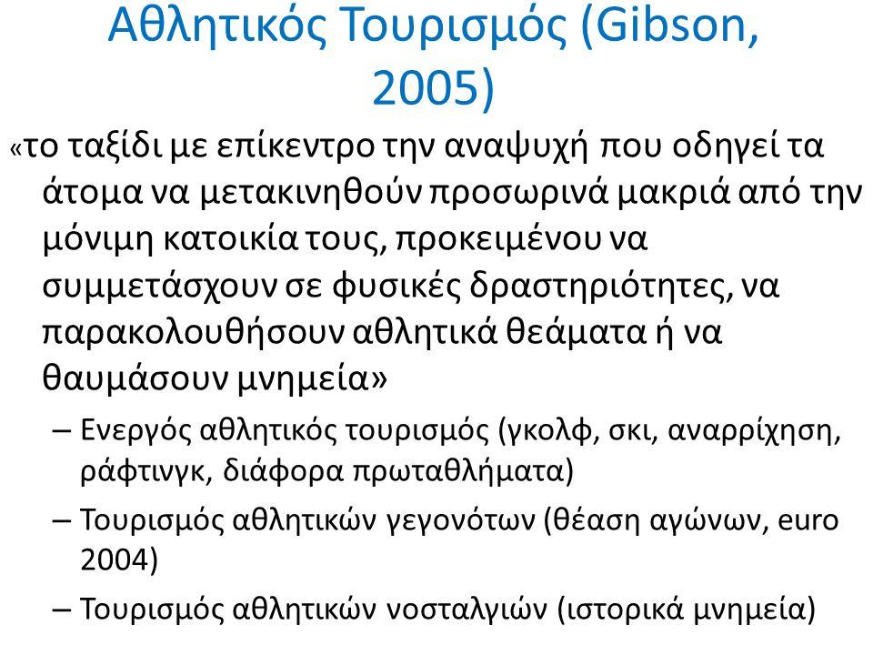 Αθλητικός Τουρισμός (Gibson, 2005) « το ταξίδι με επίκεντρο την αναψυχή που οδηγεί τα άτομα να μετακινηθούν προσωρινά μακριά από την μόνιμη κατοικία τους, προκειμένου να συμμετάσχουν σε φυσικές δραστηριότητες, να παρακολουθήσουν αθλητικά θεάματα ή να θαυμάσουν μνημεία» – Ενεργός αθλητικός τουρισμός (γκολφ, σκι, αναρρίχηση, ράφτινγκ, διάφορα πρωταθλήματα) – Τουρισμός αθλητικών γεγονότων (θέαση αγώνων, euro 2004) – Τουρισμός αθλητικών νοσταλγιών (ιστορικά μνημεία)