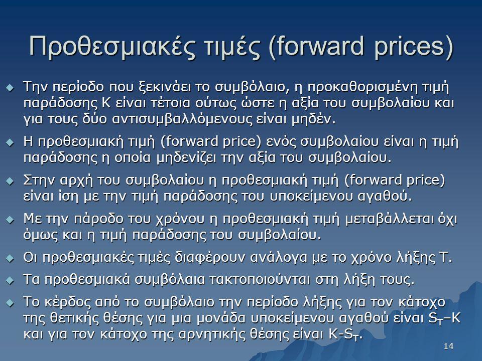 Προθεσμιακές τιμές (forward prices)  Την περίοδο που ξεκινάει το συμβόλαιο, η προκαθορισμένη τιμή παράδοσης Κ είναι τέτοια ούτως ώστε η αξία του συμβολαίου και για τους δύο αντισυμβαλλόμενους είναι μηδέν.