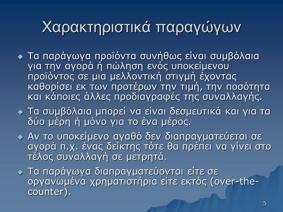 Χρηματιστήριο Παραγώγων Αθηνών  Στο Χρηματιστήριο Παραγώγων Αθηνών διαπραγματεύονται τα εξής δικαιώματα προαίρεσης: –Δικαιώματα προαίρεσης στο δείκτη FTSE-ASE 20 –Δικαιώματα προαίρεσης στο δείκτη FTSE-ASE 20 Mid 40 –Δικαιώματα προαίρεσης σε μετοχές (σε 25 μετοχές πχ.