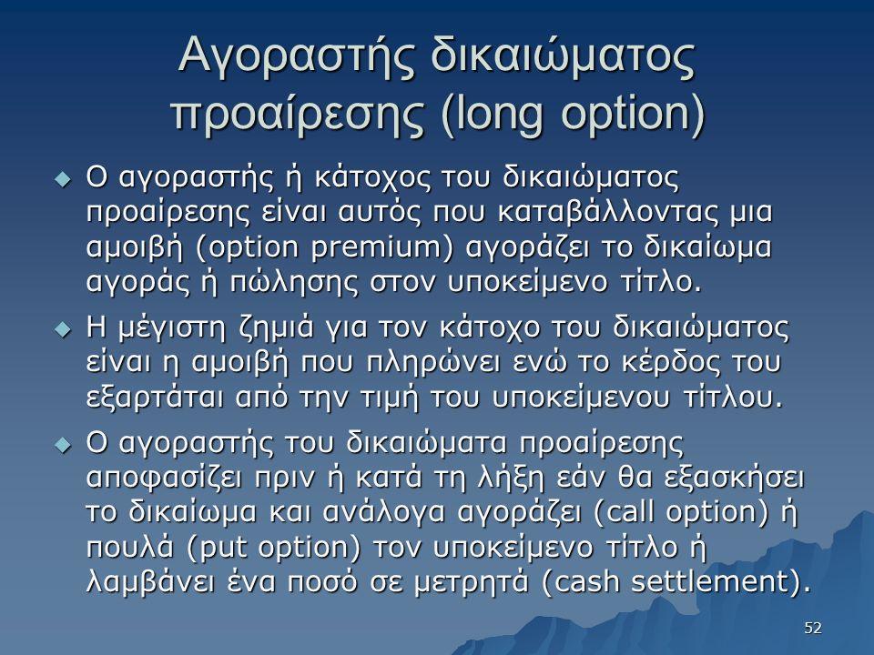 Αγοραστής δικαιώματος προαίρεσης (long option)  Ο αγοραστής ή κάτοχος του δικαιώματος προαίρεσης είναι αυτός που καταβάλλοντας μια αμοιβή (option premium) αγοράζει το δικαίωμα αγοράς ή πώλησης στον υποκείμενο τίτλο.