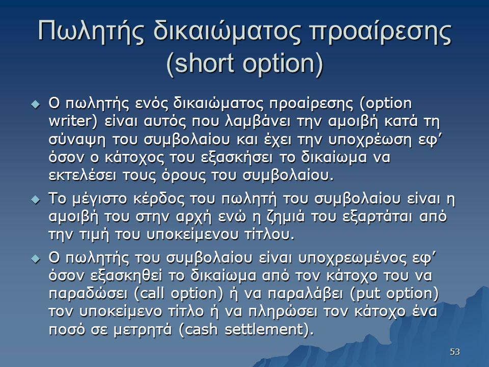Πωλητής δικαιώματος προαίρεσης (short option)  Ο πωλητής ενός δικαιώματος προαίρεσης (option writer) είναι αυτός που λαμβάνει την αμοιβή κατά τη σύναψη του συμβολαίου και έχει την υποχρέωση εφ' όσον ο κάτοχος του εξασκήσει το δικαίωμα να εκτελέσει τους όρους του συμβολαίου.