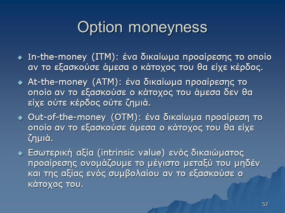 Option moneyness  Ι n-the-money (ITM): ένα δικαίωμα προαίρεσης το οποίο αν το εξασκούσε άμεσα ο κάτοχος του θα είχε κέρδος.