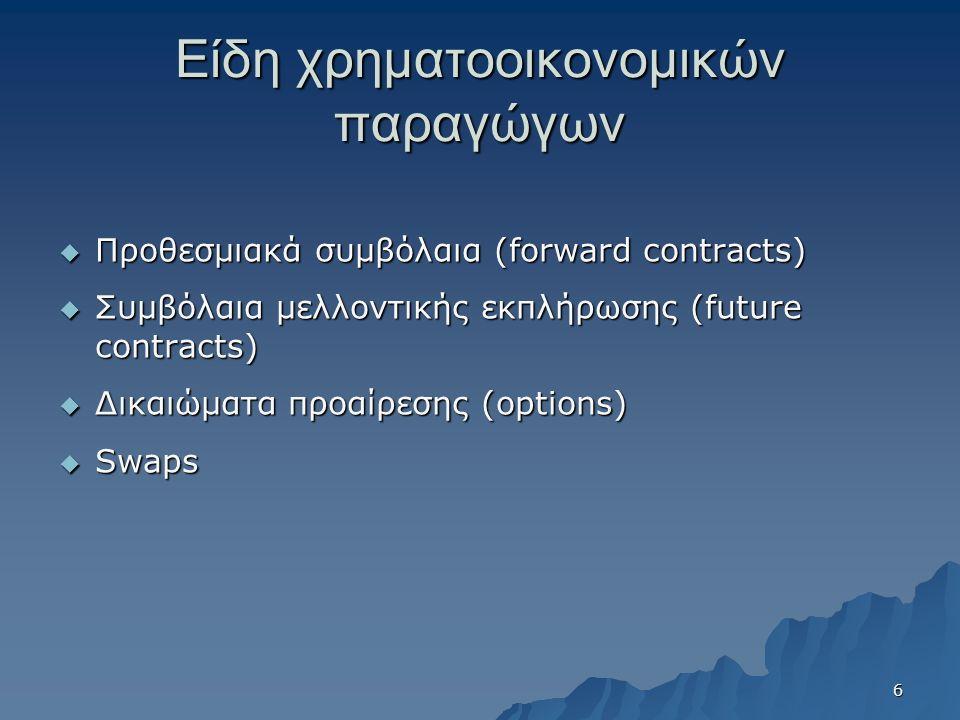 Είδη χρηματοοικονομικών παραγώγων  Προθεσμιακά συμβόλαια (forward contracts)  Συμβόλαια μελλοντικής εκπλήρωσης (future contracts)  Δικαιώματα προαίρεσης (options)  Swaps 6