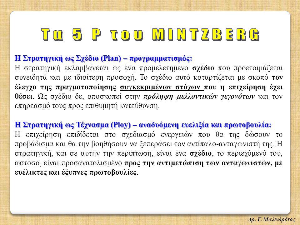 Η Στρατηγική ως Σχέδιο (Plan) – προγραμματισμός: Η στρατηγική εκλαμβάνεται ως ένα προμελετημένο σχέδιο που προετοιμάζεται συνειδητά και με ιδιαίτερη προσοχή.