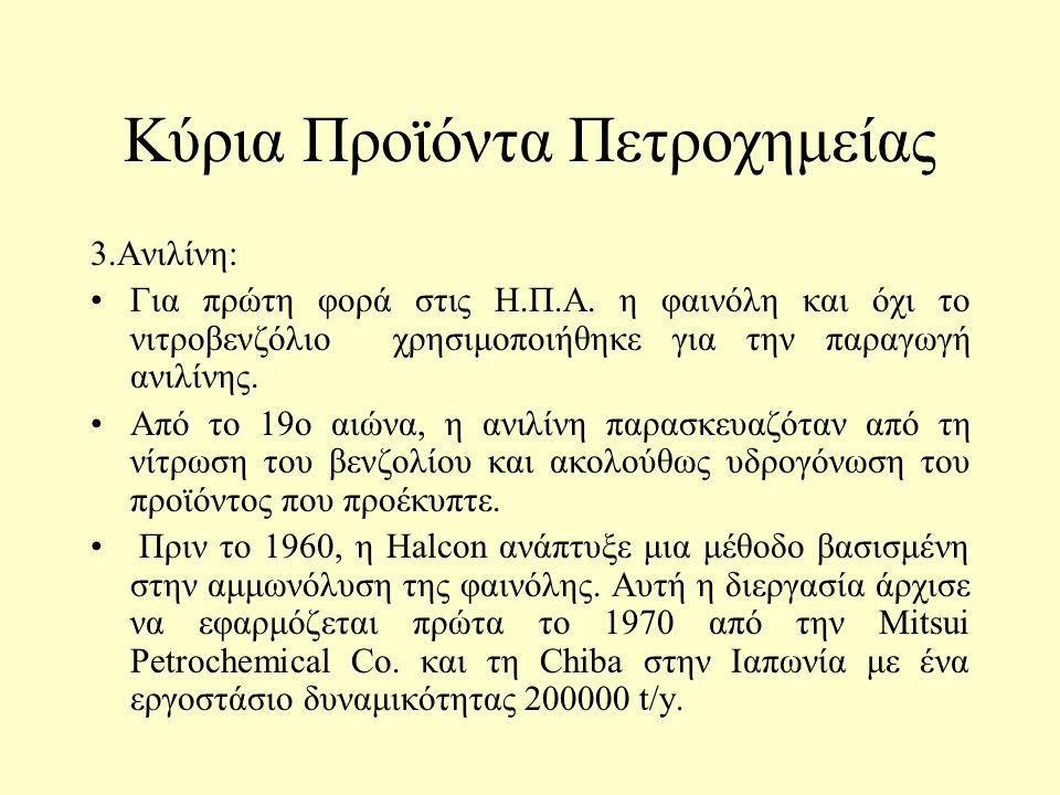Κύρια Προϊόντα Πετροχημείας 2. Ακρυλονιτρίλιο: Παρασκευάστηκε για πρώτη φορά το 1893 από το Γάλλο χημικό Ch. Moureu το ακρυλονιτρίλιο. Η εμπορική του