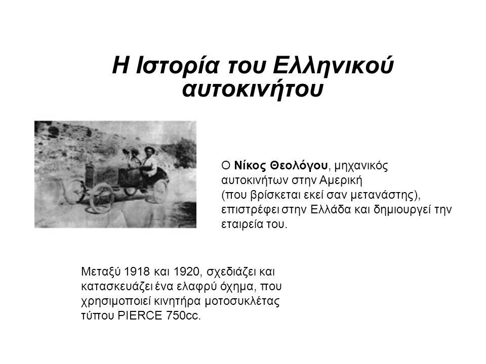Η Ιστορία του Ελληνικού αυτοκινήτου Ο Νίκος Θεολόγου, μηχανικός αυτοκινήτων στην Αμερική (που βρίσκεται εκεί σαν μετανάστης), επιστρέφει στην Ελλάδα και δημιουργεί την εταιρεία του.
