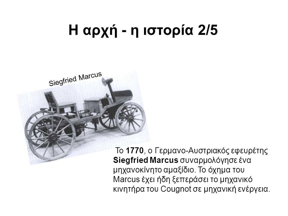 Siegfried Marcus Το 1770, ο Γερμανο-Αυστριακός εφευρέτης Siegfried Marcus συναρμολόγησε ένα μηχανοκίνητο αμαξίδιο.