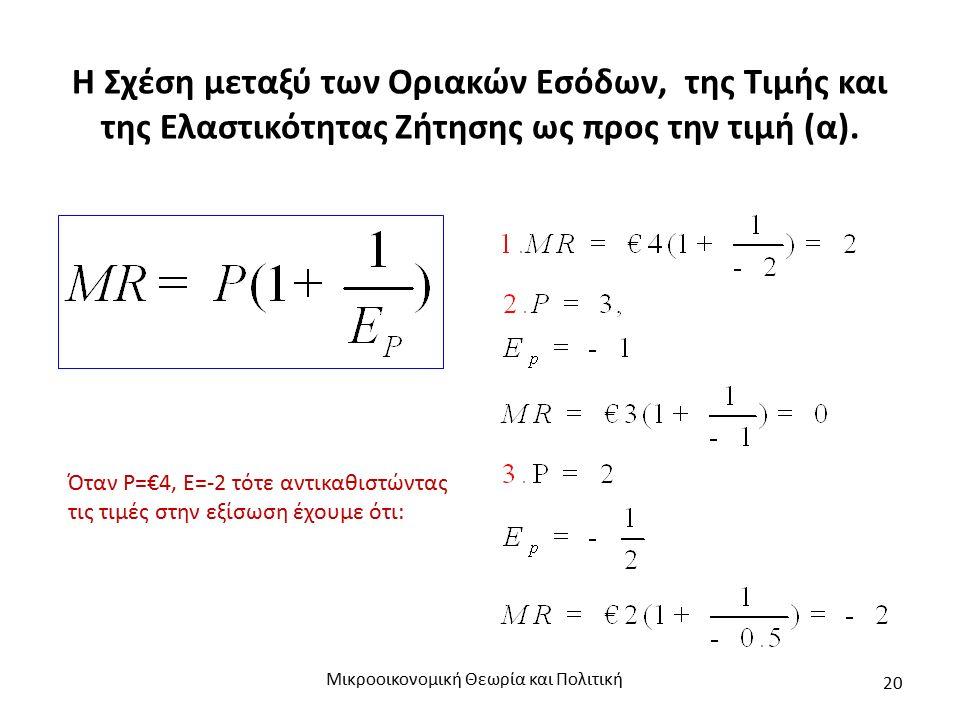 Η Σχέση μεταξύ των Οριακών Εσόδων, της Τιμής και της Ελαστικότητας Ζήτησης ως προς την τιμή (α). Μικροοικονομική Θεωρία και Πολιτική 20 Όταν Ρ=€4, Ε=-