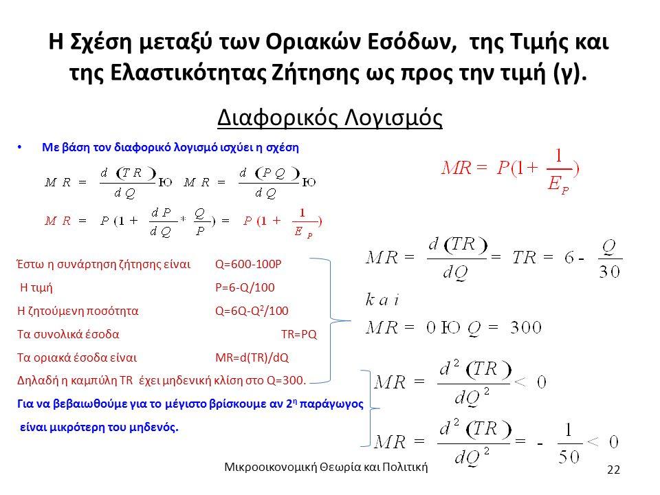 Η Σχέση μεταξύ των Οριακών Εσόδων, της Τιμής και της Ελαστικότητας Ζήτησης ως προς την τιμή (γ). Μικροοικονομική Θεωρία και Πολιτική 22 Διαφορικός Λογ