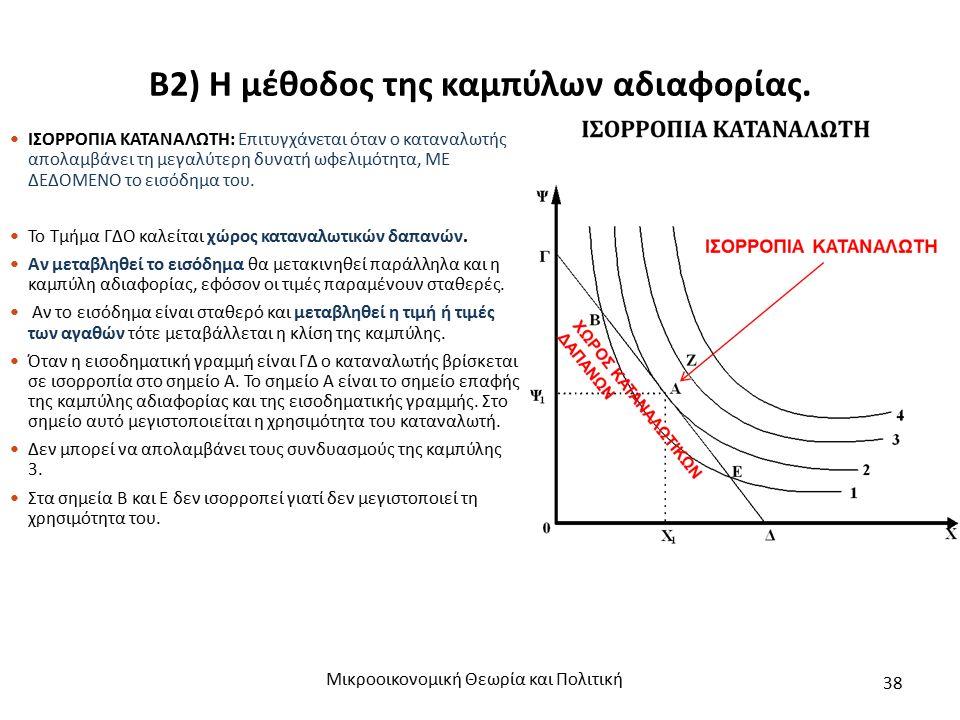 Β2) Η μέθοδος της καμπύλων αδιαφορίας. Μικροοικονομική Θεωρία και Πολιτική 38 ΙΣΟΡΡΟΠΙΑ ΚΑΤΑΝΑΛΩΤΗ: Επιτυγχάνεται όταν ο καταναλωτής απολαμβάνει τη με
