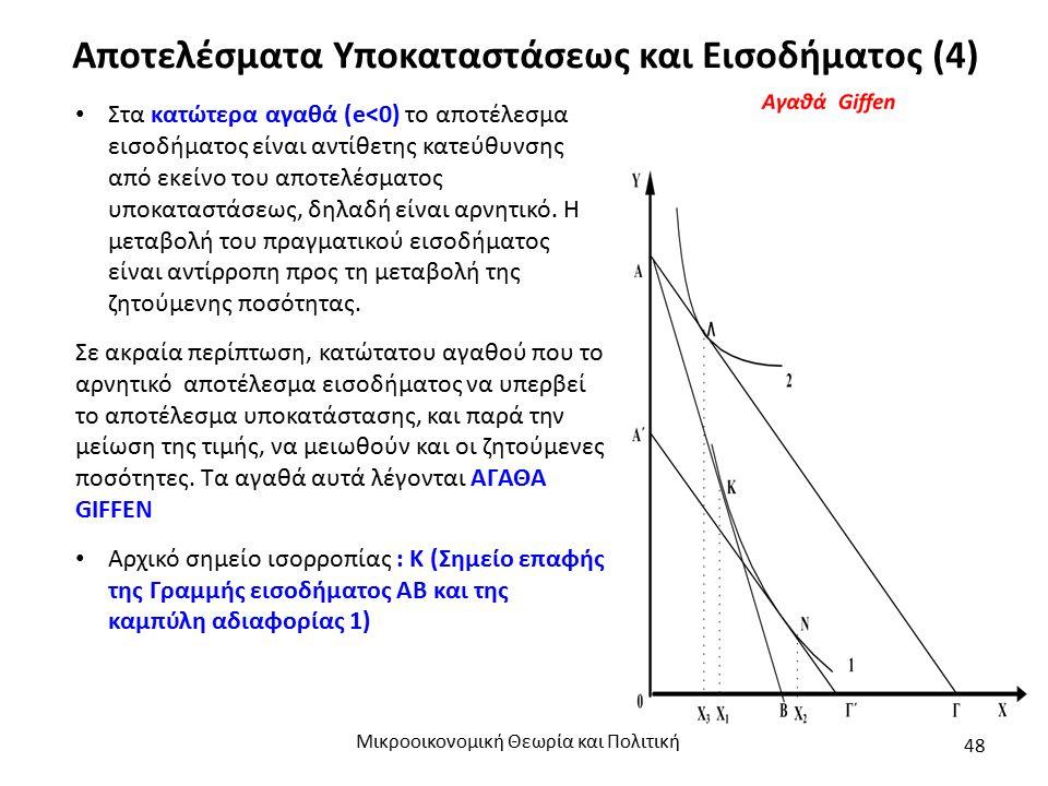 Αποτελέσματα Υποκαταστάσεως και Εισοδήματος (4) Μικροοικονομική Θεωρία και Πολιτική 48 Στα κατώτερα αγαθά (e<0) το αποτέλεσμα εισοδήματος είναι αντίθε