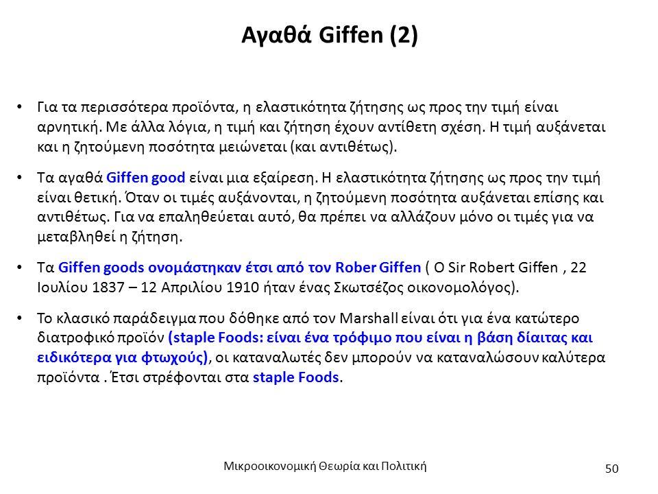 Αγαθά Giffen (2) Μικροοικονομική Θεωρία και Πολιτική 50 Για τα περισσότερα προϊόντα, η ελαστικότητα ζήτησης ως προς την τιμή είναι αρνητική. Με άλλα λ