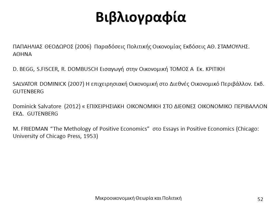 Βιβλιογραφία ΠΑΠΑΗΛΙΑΣ ΘΕΟΔΩΡΟΣ (2006) Παραδόσεις Πολιτικής Οικονομίας Εκδόσεις ΑΘ. ΣΤΑΜΟΥΛΗΣ. ΑΘΗΝΑ D. BEGG, S.FISCER, R. DOMBUSCH Εισαγωγή στην Οικο