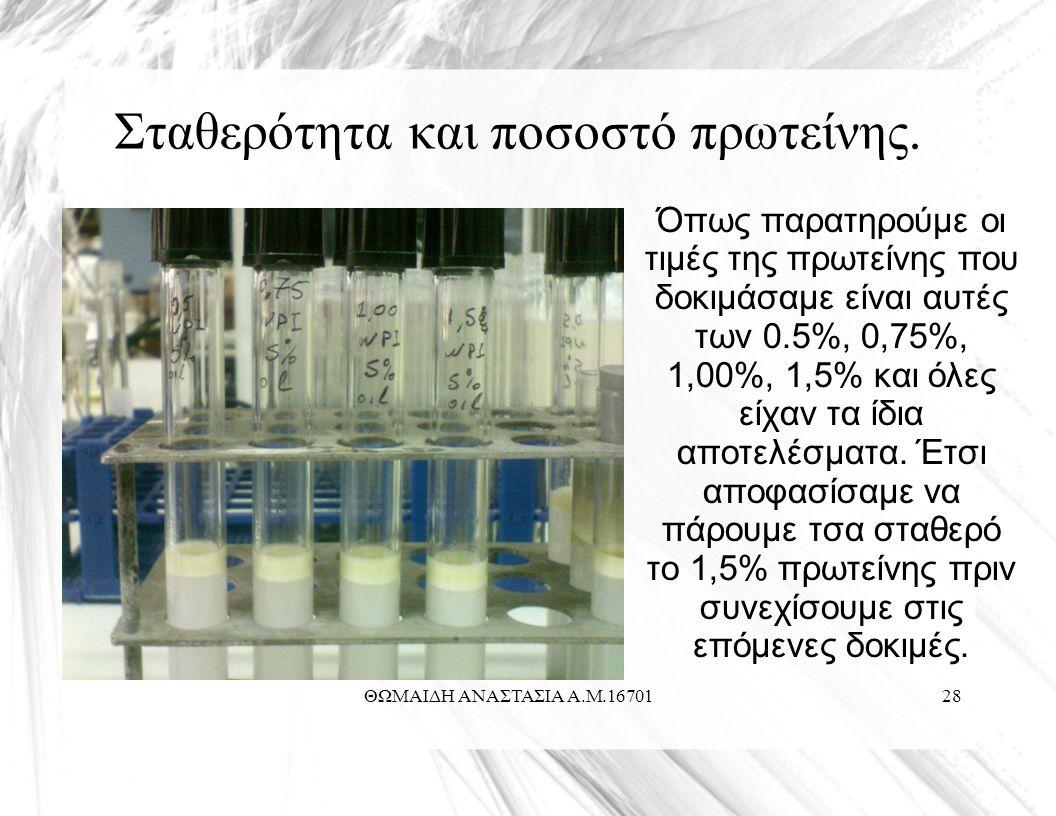 ΘΩΜΑΙΔΗ ΑΝΑΣΤΑΣΙΑ Α.Μ.1670128 Σταθερότητα και ποσοστό πρωτείνης.