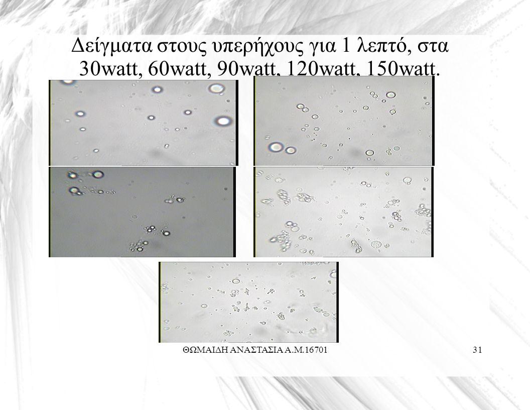 ΘΩΜΑΙΔΗ ΑΝΑΣΤΑΣΙΑ Α.Μ.1670131 Δείγματα στους υπερήχους για 1 λεπτό, στα 30watt, 60watt, 90watt, 120watt, 150watt.