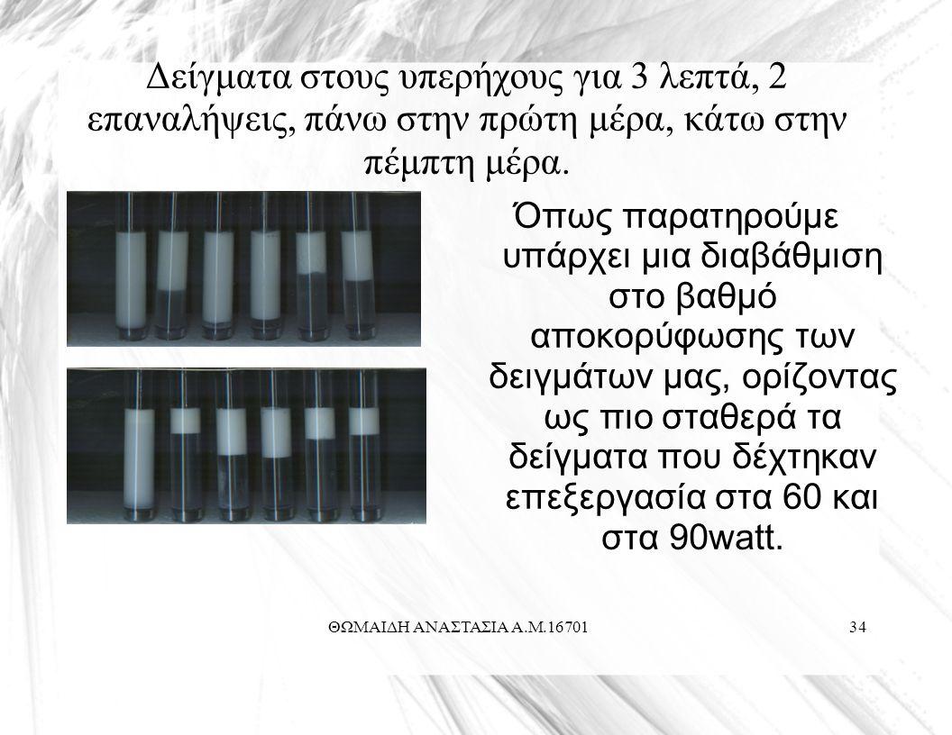 ΘΩΜΑΙΔΗ ΑΝΑΣΤΑΣΙΑ Α.Μ.1670134 Δείγματα στους υπερήχους για 3 λεπτά, 2 επαναλήψεις, πάνω στην πρώτη μέρα, κάτω στην πέμπτη μέρα.