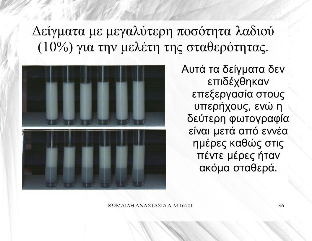 ΘΩΜΑΙΔΗ ΑΝΑΣΤΑΣΙΑ Α.Μ.1670136 Δείγματα με μεγαλύτερη ποσότητα λαδιού (10%) για την μελέτη της σταθερότητας.