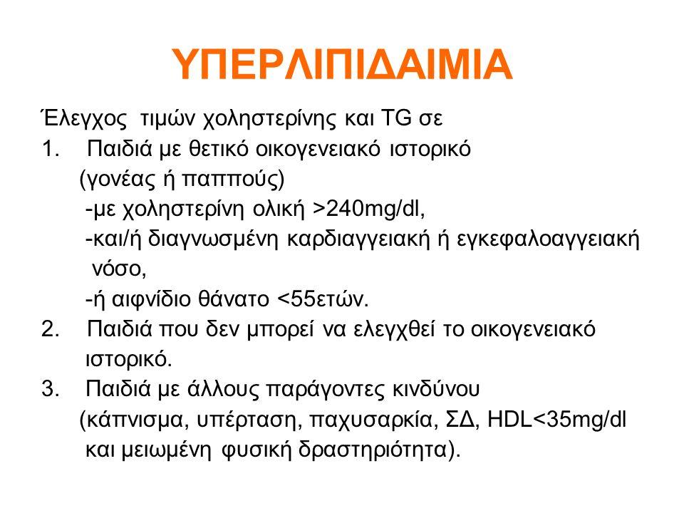 ΥΠΕΡΛΙΠΙΔΑΙΜΙΑ Έλεγχος τιμών χοληστερίνης και TG σε 1.Παιδιά με θετικό οικογενειακό ιστορικό (γονέας ή παππούς) -με χοληστερίνη ολική >240mg/dl, -και/ή διαγνωσμένη καρδιαγγειακή ή εγκεφαλοαγγειακή νόσο, -ή αιφνίδιο θάνατο <55ετών.