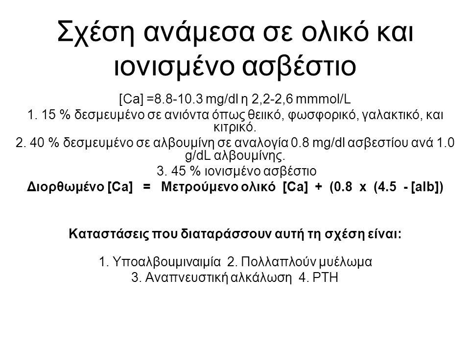 Σχέση ανάμεσα σε ολικό και ιονισμένο ασβέστιο [Ca] =8.8-10.3 mg/dl η 2,2-2,6 mmmol/L 1.