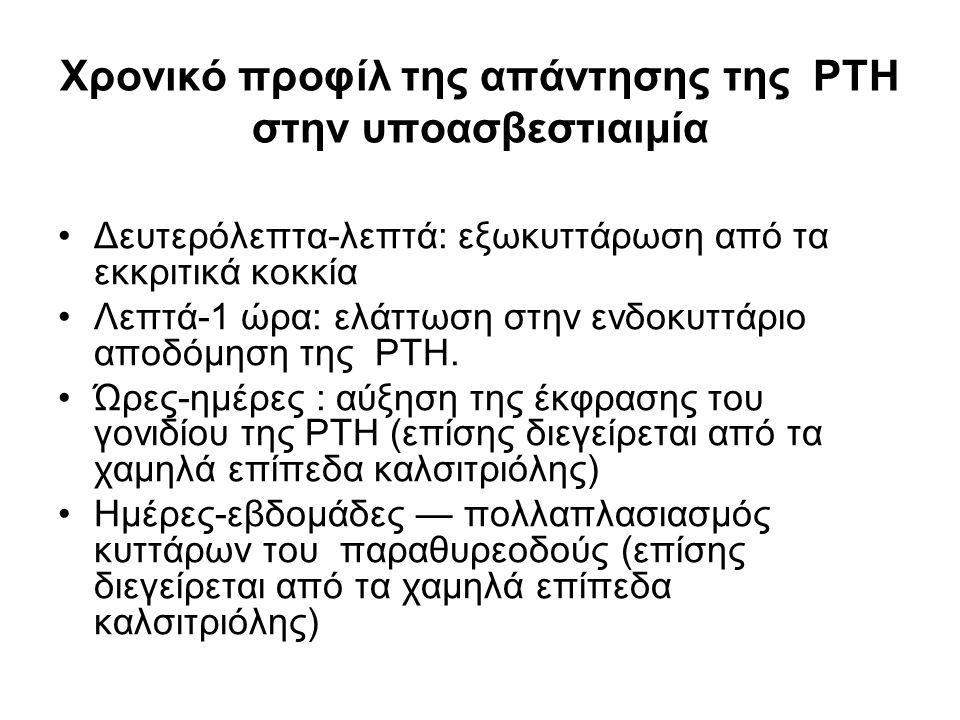 Χρονικό προφίλ της απάντησης της PTH στην υποασβεστιαιμία Δευτερόλεπτα-λεπτά: εξωκυττάρωση από τα εκκριτικά κοκκία Λεπτά-1 ώρα: ελάττωση στην ενδοκυττάριο αποδόμηση της PTH.