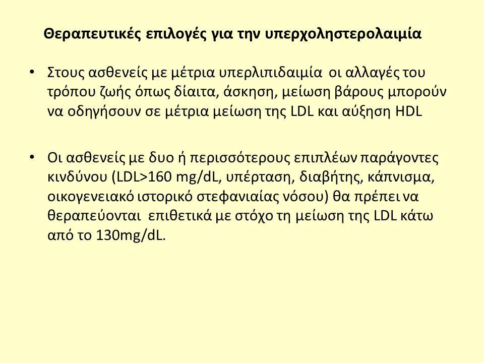 Θεραπευτικές επιλογές για την υπερχοληστερολαιμία Στους ασθενείς με μέτρια υπερλιπιδαιμία οι αλλαγές του τρόπου ζωής όπως δίαιτα, άσκηση, μείωση βάρους μπορούν να οδηγήσουν σε μέτρια μείωση της LDL και αύξηση HDL Οι ασθενείς με δυο ή περισσότερους επιπλέων παράγοντες κινδύνου (LDL>160 mg/dL, υπέρταση, διαβήτης, κάπνισμα, οικογενειακό ιστορικό στεφανιαίας νόσου) θα πρέπει να θεραπεύονται επιθετικά με στόχο τη μείωση της LDL κάτω από το 130mg/dL.