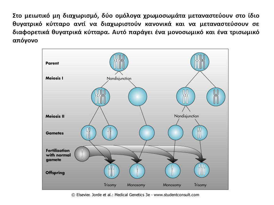 Στο μειωτικό μη διαχωρισμό, δύο ομόλογα χρωμοσωμάτα μεταναστεύουν στο ίδιο θυγατρικό κύτταρο αντί να διαχωριστούν κανονικά και να μεταναστεύσουν σε διαφορετικά θυγατρικά κύτταρα.