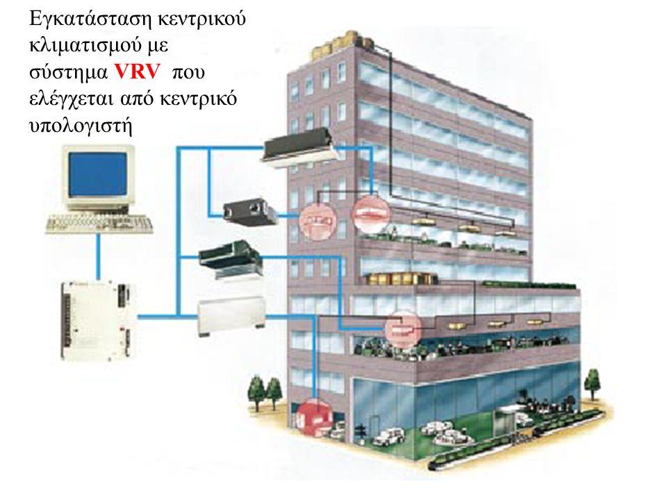 VRV system (Variable Refrigerant Volume) Τα τελευταία χρόνια σε μοντέρνα συγκροτήματα κτιρίων εφαρμόζεται σύστημα κεντρικού κλιματισμού, με τοπικό έλεγχο της ποσότητας του εξατμιζόμενου ψυκτικού ρευστού.