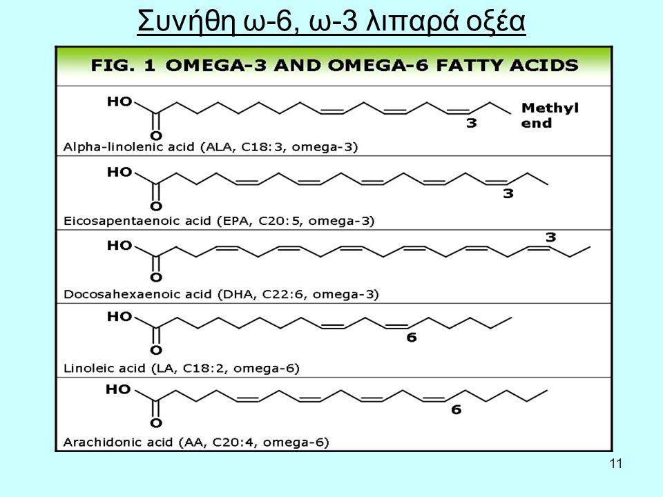 11 Συνήθη ω-6, ω-3 λιπαρά οξέα