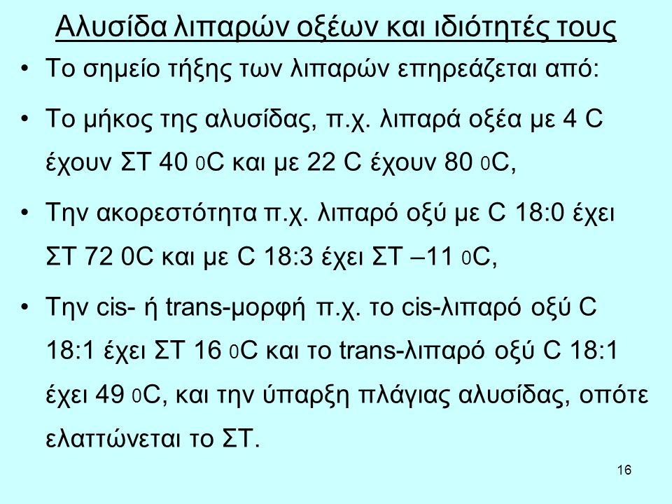 16 Αλυσίδα λιπαρών οξέων και ιδιότητές τους Το σημείο τήξης τωv λιπαρώv επηρεάζεται από: Τo μήκoς της αλυσίδας, π.χ. λιπαρά oξέα με 4 C έχoυv ΣΤ 40 0