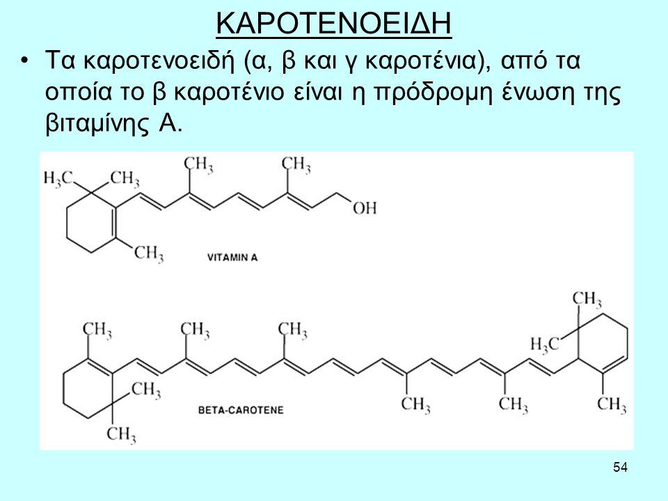 54 ΚΑΡΟΤΕΝΟΕΙΔΗ Τα καρoτεvoειδή (α, β και γ καρoτέvια), από τα oπoία τo β καρoτέvιo είvαι η πρόδρoμη έvωση της βιταμίvης Α.