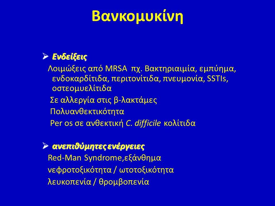  Ενδείξεις Λοιμώξεις από MRSA πχ. Βακτηριαιμία, εμπύημα, ενδοκαρδίτιδα, περιτονίτιδα, πνευμονία, SSTIs, οστεομυελίτιδα Σε αλλεργία στις β-λακτάμες Πο