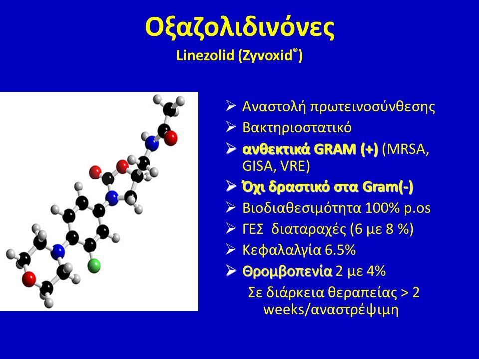 Οξαζολιδινόνες Linezolid (Zyvoxid ® )  Αναστολή πρωτεινοσύνθεσης  Βακτηριοστατικό  ανθεκτικά GRAM (+)  ανθεκτικά GRAM (+) (MRSA, GISA, VRE)  Όχι