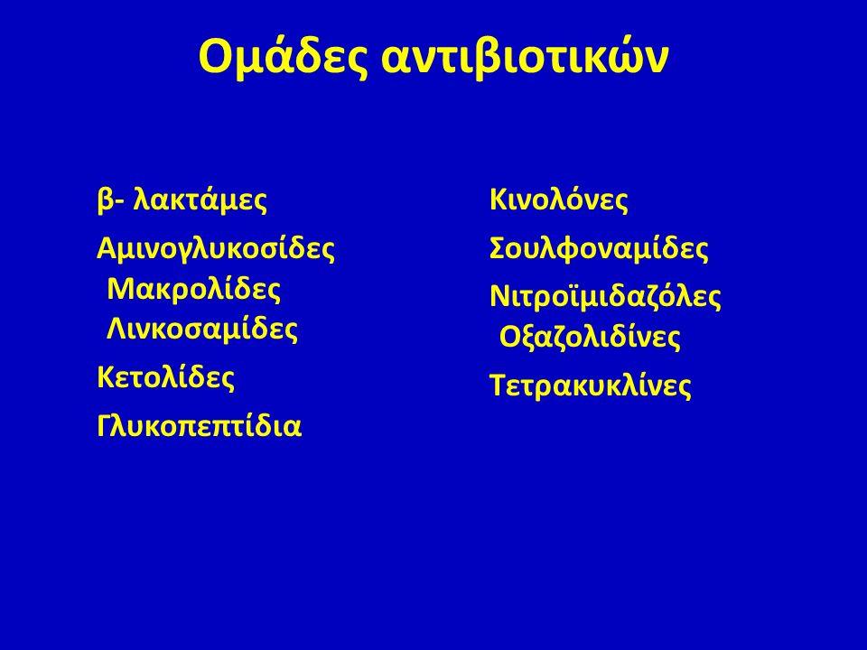Ομάδες αντιβιοτικών β- λακτάμες Αμινογλυκοσίδες Μακρολίδες Λινκοσαμίδες Κετολίδες Γλυκοπεπτίδια Κινολόνες Σουλφοναμίδες Νιτροϊμιδαζόλες Οξαζολιδίνες Τ