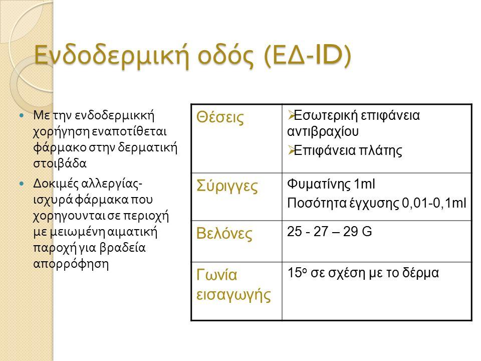Ενδοδερμική οδός ( ΕΔ -ID) Με την ενδοδερμικκή χορήγηση εναποτίθεται φάρμακο στην δερματική στοιβάδα Δοκιμές αλλεργίας - ισχυρά φάρμακα που χορηγουνται σε περιοχή με μειωμένη αιματική παροχή για βραδεία απορρόφηση Θέσεις  Εσωτερική επιφάνεια αντιβραχίου  Επιφάνεια πλάτης Σύριγγες Φυματίνης 1ml Ποσότητα έγχυσης 0,01-0,1ml Βελόνες 25 - 27 – 29 G Γωνία εισαγωγής 15 o σε σχέση με το δέρμα