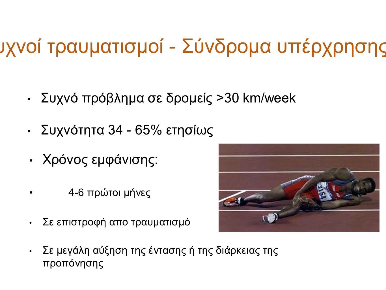 Συχνό πρόβλημα σε δρομείς >30 km/week Συχνότητα 34 - 65% ετησίως Χρόνος εμφάνισης: 4-6 πρώτοι μήνες Σε επιστροφή απο τραυματισμό Σε μεγάλη αύξηση της