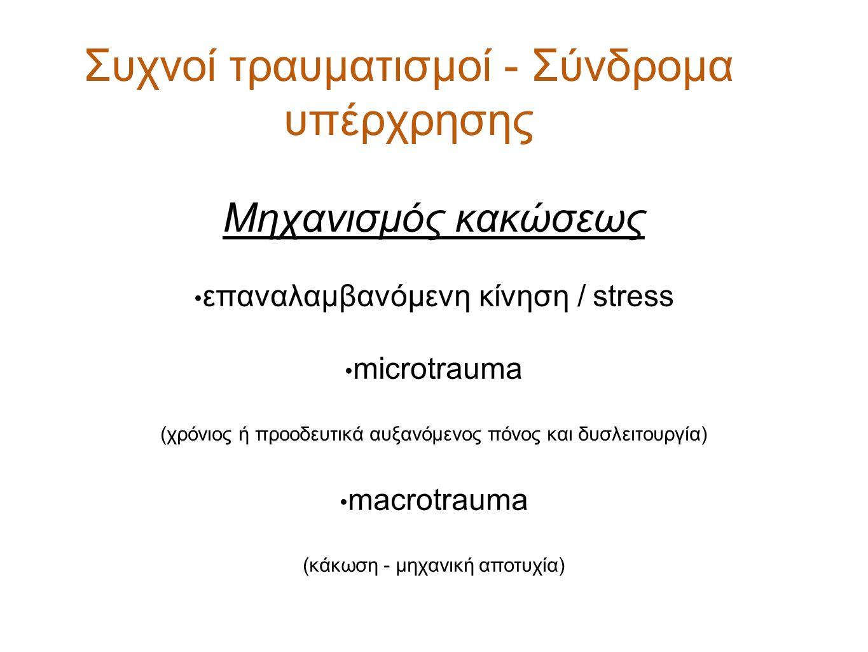 Συχνοί τραυματισμοί - Σύνδρομα υπέρχρησης Μηχανισμός κακώσεως επαναλαμβανόμενη κίνηση / stress microtrauma (χρόνιος ή προοδευτικά αυξανόμενος πόνος κα