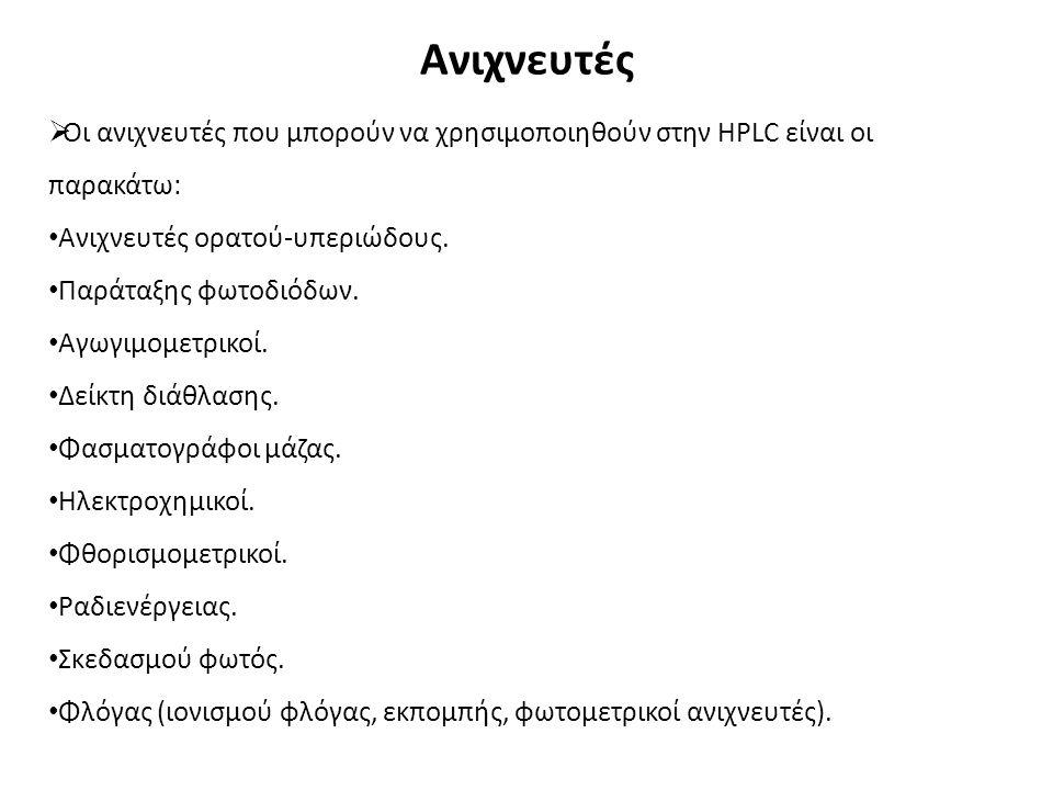 Ανιχνευτές  Οι ανιχνευτές που μπορούν να χρησιμοποιηθούν στην HPLC είναι οι παρακάτω: Ανιχνευτές ορατού-υπεριώδους.