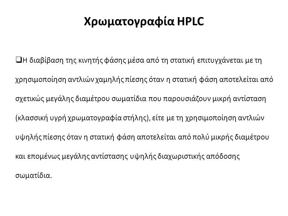 Χρωματογραφία HPLC  Η διαβίβαση της κινητής φάσης μέσα από τη στατική επιτυγχάνεται με τη χρησιμοποίηση αντλιών χαμηλής πίεσης όταν η στατική φάση αποτελείται από σχετικώς μεγάλης διαμέτρου σωματίδια που παρουσιάζουν μικρή αντίσταση (κλασσική υγρή χρωματογραφία στήλης), είτε με τη χρησιμοποίηση αντλιών υψηλής πίεσης όταν η στατική φάση αποτελείται από πολύ μικρής διαμέτρου και επομένως μεγάλης αντίστασης υψηλής διαχωριστικής απόδοσης σωματίδια.