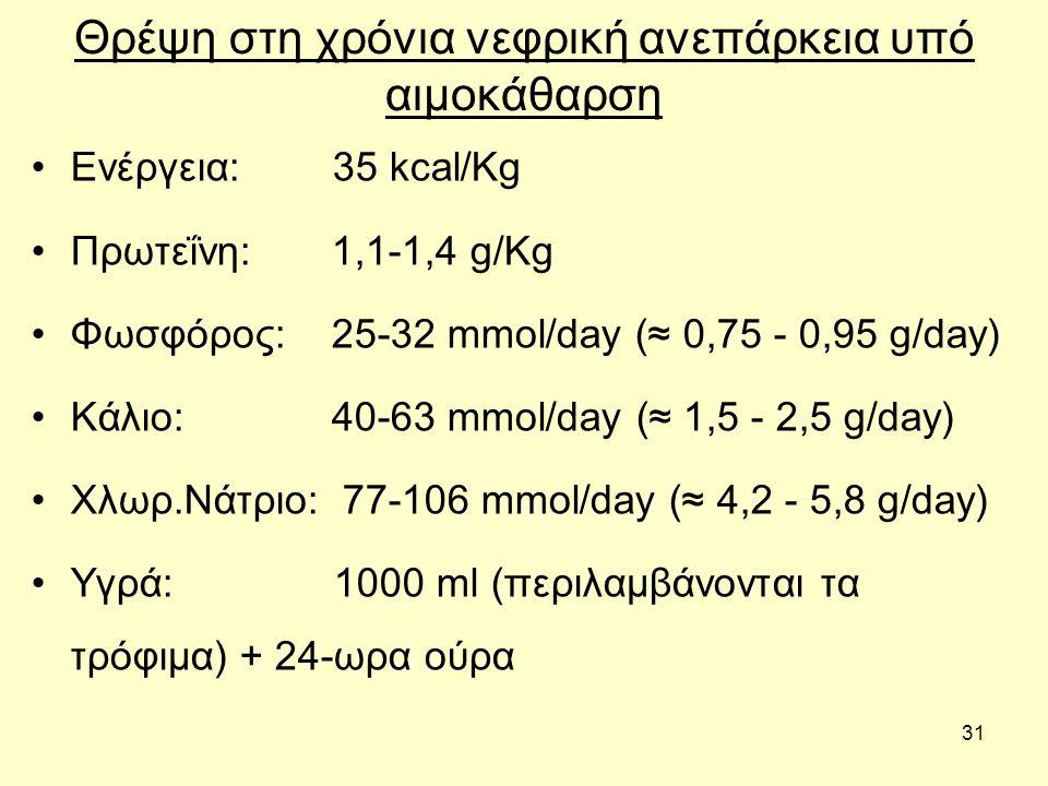 31 Θρέψη στη χρόνια νεφρική ανεπάρκεια υπό αιμοκάθαρση Ενέργεια: 35 kcal/Kg Πρωτεΐνη: 1,1-1,4 g/Kg Φωσφόρος: 25-32 mmol/day (≈ 0,75 - 0,95 g/day) Κάλιο: 40-63 mmol/day (≈ 1,5 - 2,5 g/day) Χλωρ.Νάτριο: 77-106 mmol/day (≈ 4,2 - 5,8 g/day) Υγρά: 1000 ml (περιλαμβάνονται τα τρόφιμα) + 24-ωρα ούρα