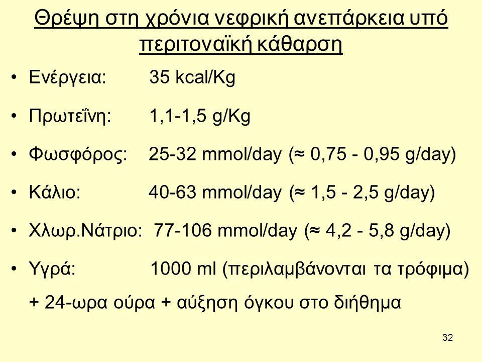 32 Θρέψη στη χρόνια νεφρική ανεπάρκεια υπό περιτοναϊκή κάθαρση Ενέργεια: 35 kcal/Kg Πρωτεΐνη: 1,1-1,5 g/Kg Φωσφόρος: 25-32 mmol/day (≈ 0,75 - 0,95 g/day) Κάλιο: 40-63 mmol/day (≈ 1,5 - 2,5 g/day) Χλωρ.Νάτριο: 77-106 mmol/day (≈ 4,2 - 5,8 g/day) Υγρά: 1000 ml (περιλαμβάνονται τα τρόφιμα) + 24-ωρα ούρα + αύξηση όγκου στο διήθημα