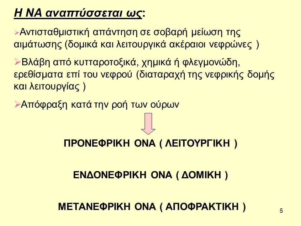6 ΠΡΟΝΕΦΡΙΚΗ ΝΑ ΠΡΟΝΕΦΡΙΚΗ ΝΑ ( μειωμένη νεφρική αιμάτωση)  Υπόταση, Αφυδάτωση  Εξωνεφρικές απώλειες Νατρίου και Νερού Απώλειες από το γαστρεντερικό σύστημα ή το δέρμα  Νεφρικές απώλειες Νατρίου και Νερού ΕΝΔΟΓΕΝΕΙΣ (Οσμωτική διούρηση, διουρητικά, ανεπάρκεια αλατοκορτικοειδών) ΕΞΩΓΕΝΕΙΣ (Salt loosing nephropathy)