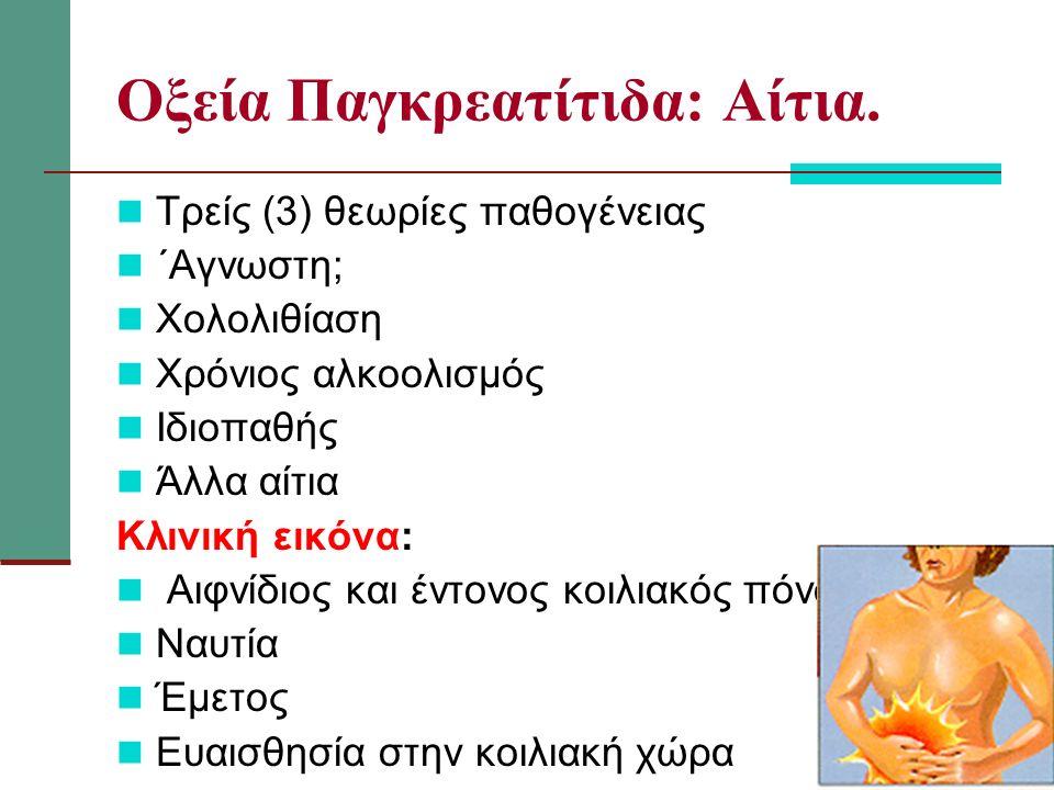 Οξεία Παγκρεατίτιδα: Αίτια. Τρείς (3) θεωρίες παθογένειας ΄Αγνωστη; Χολολιθίαση Χρόνιος αλκοολισμός Ιδιοπαθής Άλλα αίτια Κλινική εικόνα: Αιφνίδιος και