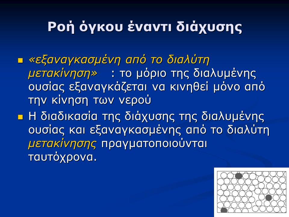 Ροή όγκου έναντι διάχυσης «εξαναγκασμένη από το διαλύτη μετακίνηση» : το μόριο της διαλυμένης ουσίας εξαναγκάζεται να κινηθεί μόνο από την κίνηση των νερού «εξαναγκασμένη από το διαλύτη μετακίνηση» : το μόριο της διαλυμένης ουσίας εξαναγκάζεται να κινηθεί μόνο από την κίνηση των νερού Η διαδικασία της διάχυσης της διαλυμένης ουσίας και εξαναγκασμένης από το διαλύτη μετακίνησης πραγματοποιούνται ταυτόχρονα.