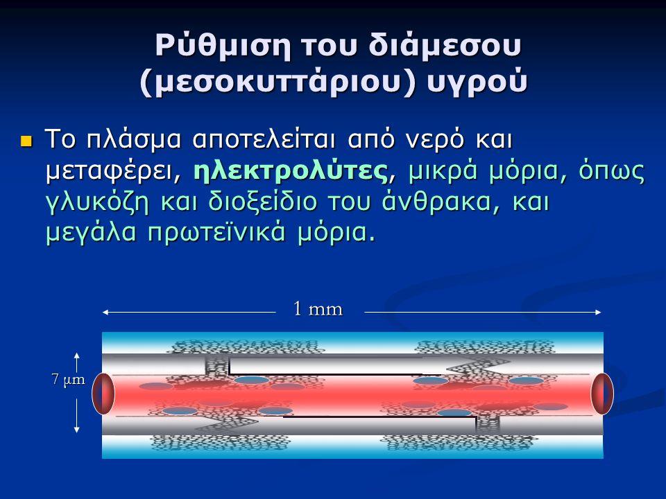 Ρύθμιση του διάμεσου (μεσοκυττάριου) υγρού Ρύθμιση του διάμεσου (μεσοκυττάριου) υγρού Το πλάσμα αποτελείται από νερό και μεταφέρει, ηλεκτρολύτες, μικρ