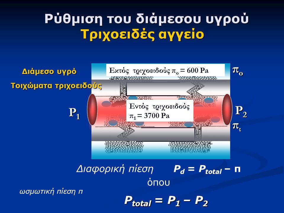 Ρύθμιση του διάμεσου υγρού Τριχοειδές αγγείο Ρύθμιση του διάμεσου υγρού Τριχοειδές αγγείο Διαφορική πίεση Ρ d = P total – π όπου πιπιπιπι P1P1P1P1 P2P2P2P2 ωσμωτική πίεση π P total = P 1 – P 2 Τοιχώματα τριχοειδούς Διάμεσο υγρό Εκτός τριχοειδούς π ο = 600 Pa Εντός τριχοειδούς π 1 = 3700 Pa πoπoπoπo