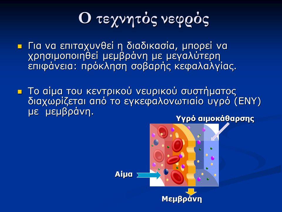 Ο τεχνητός νεφρός Ο τεχνητός νεφρός Για να επιταχυνθεί η διαδικασία, μπορεί να χρησιμοποιηθεί μεμβράνη με μεγαλύτερη επιφάνεια: πρόκληση σοβαρής κεφαλαλγίας.