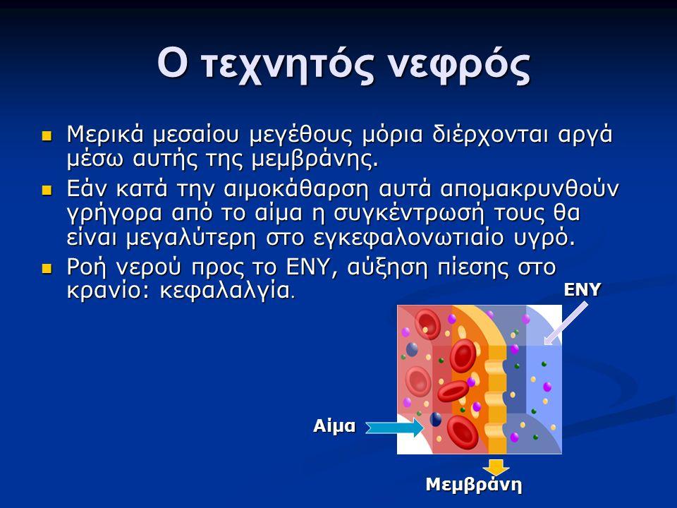 Ο τεχνητός νεφρός Ο τεχνητός νεφρός Μερικά μεσαίου μεγέθους μόρια διέρχονται αργά μέσω αυτής της μεμβράνης. Μερικά μεσαίου μεγέθους μόρια διέρχονται α