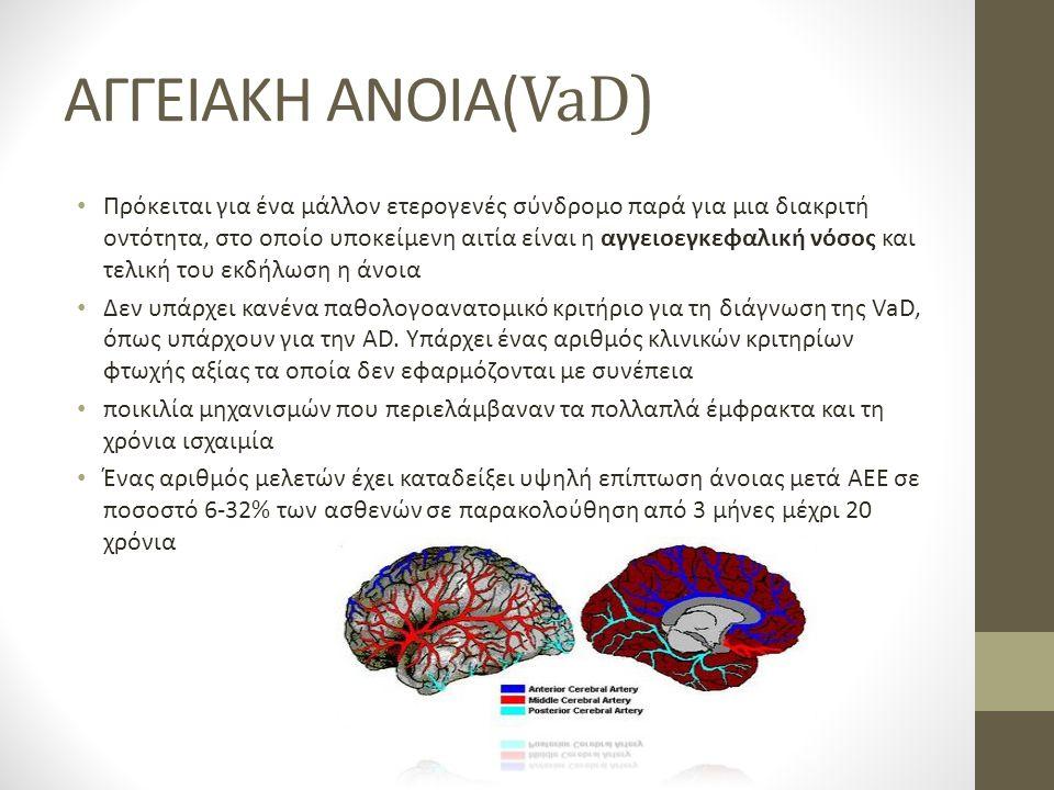 ΑΓΓΕΙΑΚΗ ΑΝΟΙΑ( VaD) Πρόκειται για ένα μάλλον ετερογενές σύνδρομο παρά για μια διακριτή οντότητα, στο οποίο υποκείμενη αιτία είναι η αγγειοεγκεφαλική νόσος και τελική του εκδήλωση η άνοια Δεν υπάρχει κανένα παθολογοανατομικό κριτήριο για τη διάγνωση της VaD, όπως υπάρχουν για την AD.