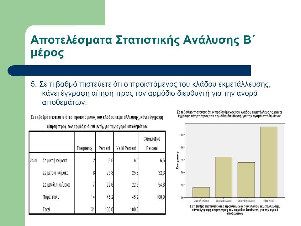 Αποτελέσματα Στατιστικής Ανάλυσης Β΄ μέρος 5.